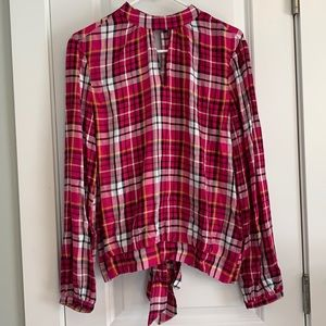 NWT New York & Co Pink Plaid Blouse